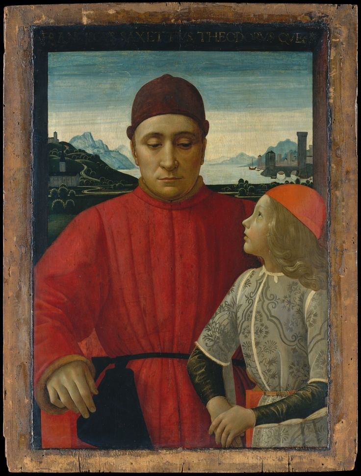 Francesco Sassetti (1421–1490) and His Son Teodoro  Artist:Domenico Ghirlandaio (Domenico Bigordi) (Italian, Florence 1448/49–1494 Florence)  Date:ca. 1488  Medium:Tempera on wood  Dimensions:Overall 33 1/4 x 25 1/8 in. (84.5 x 63.8 cm); painted surface 29 7/8 x 20 7/8 in. (75.9 x 53 cm)  MMA