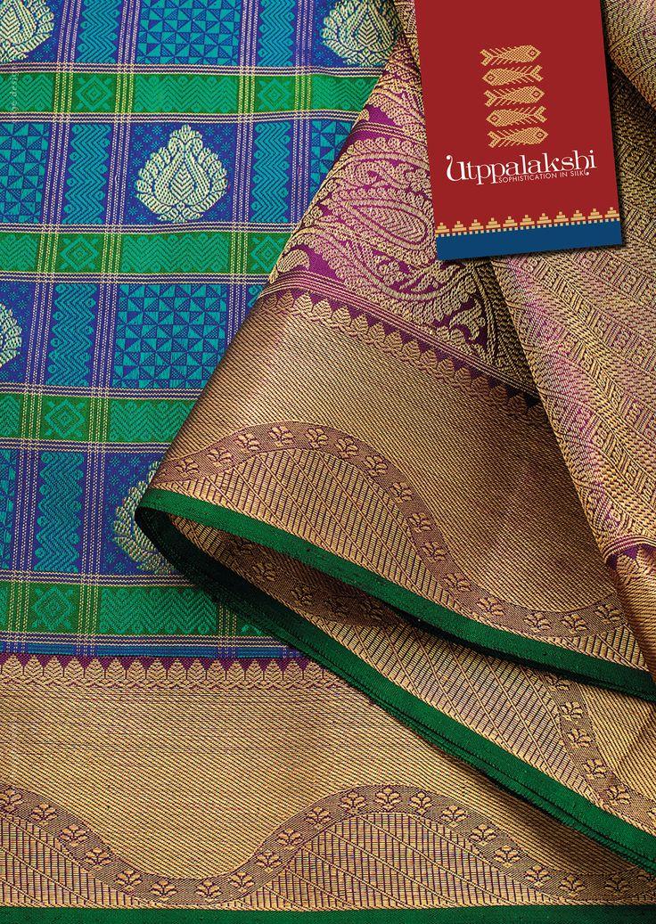 Jacquard saree with elegant peacock blue and fine zari work in the pallu. Check…