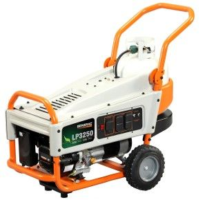 The Generac 6000 LP3250 3,250 Watt 212cc OHV Portable Liquid Propane Powered Generator incorporates a tank holder into the frame itself, so the propane tank sits securely out of the way. This eliminates the hassle of a stand-alone tank and the awkward fuel line that goes along with it. The LP3250 also includes your quart of oil, a wheel kit for easy portability, and a 2 year residential warranty.