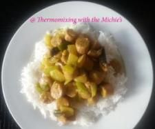 Thermomix Curried sausages