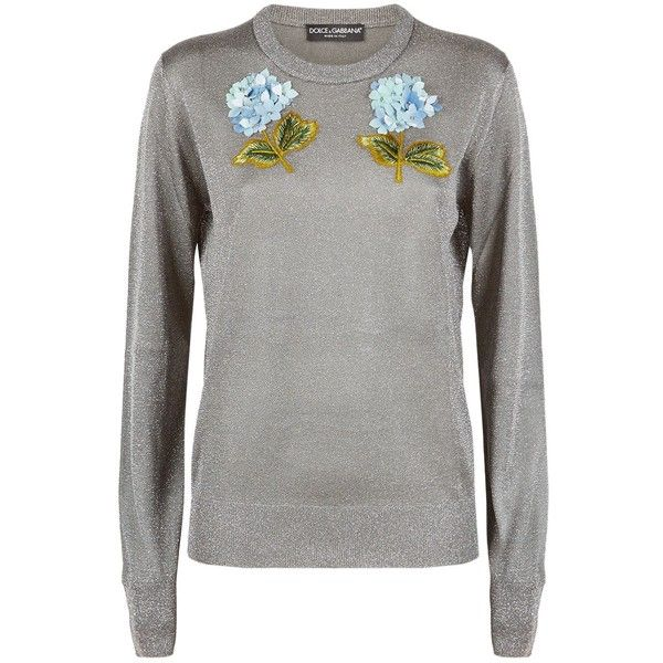 Dolce & Gabbana Floral Appliqué Lurex Jumper (€1.050) ❤ liked on Polyvore featuring tops, sweaters, metallic top, dolce gabbana sweaters, metallic jumper, holiday sweaters and floral sweater