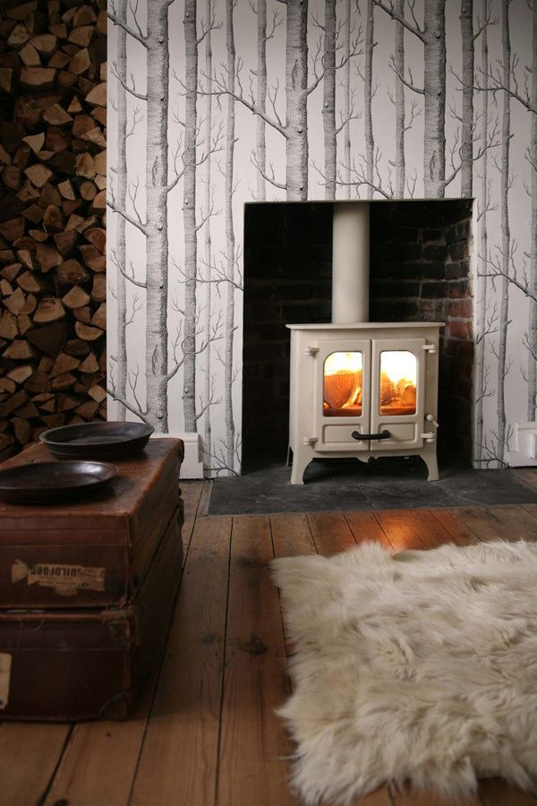 Tree Design Wallpaper Living Room: 26 Best Wood Burning Fireplaces Images On Pinterest
