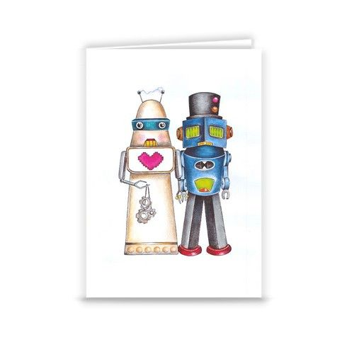 The Robots Wed Greeting Card by tracylyons at zippi.co.uk