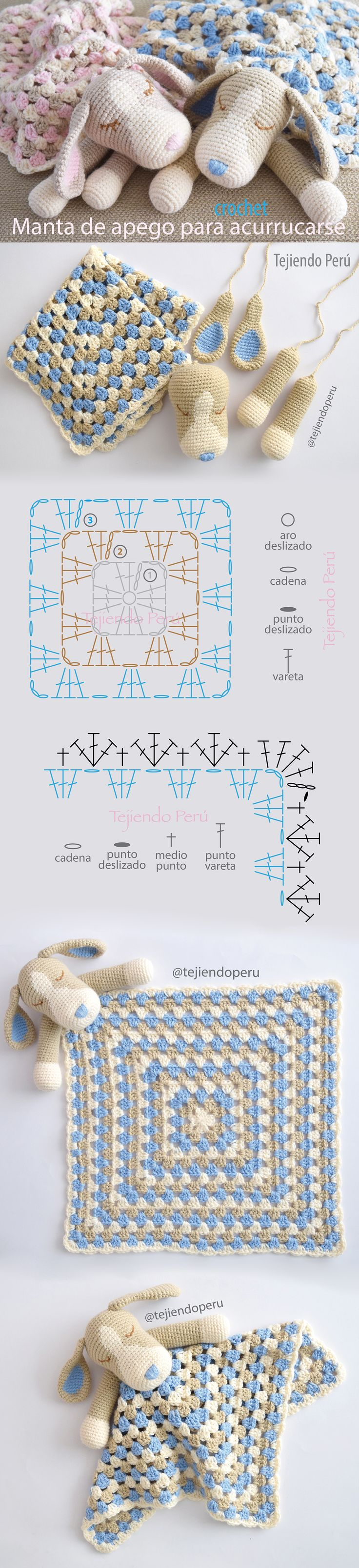 Colcha con perritos o manta de apego para acurrucarse tejida a #crochet: paso a paso en video! #amigurumi #ganchillo #cobija