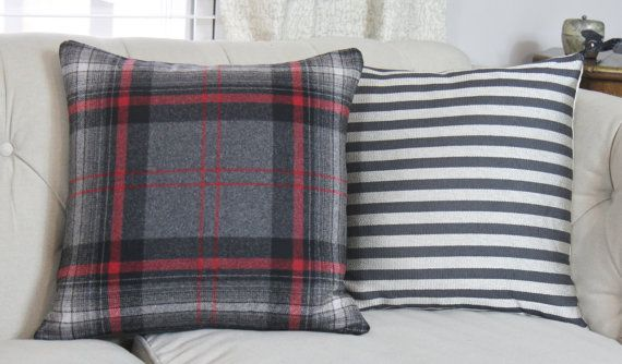 Plaid Pillow Cover Gray Black and Red Pillow от MotifPillows