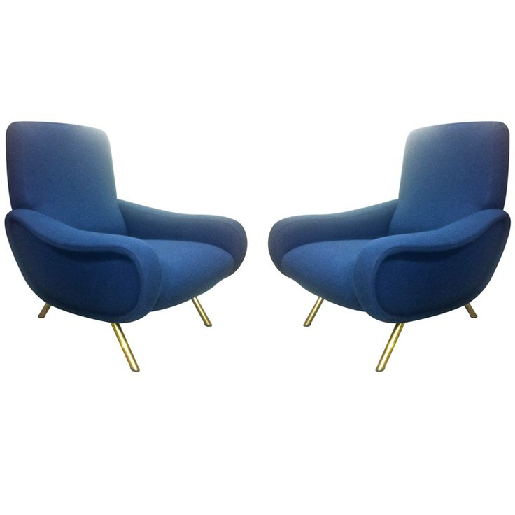 Zanuso Vintage Pair Lady Chairs Reupholstered In deep blue