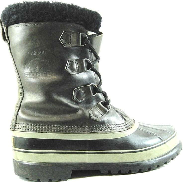 Sorel Men Boots Size 9 Brown Black Gray Rubber Lowers Leather Uppers. GAG 37 #Sorel #SnowWinter