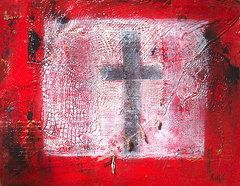 by Jo Roffe - Black Crucifix - part of my Racism series. Oils on canvas