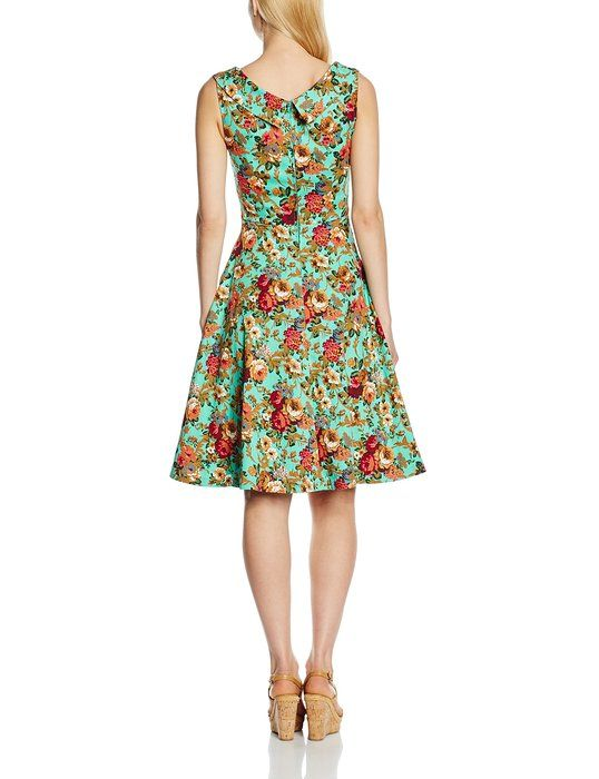 Lindy Bop Women's 'Ophelia' Vintage 1950's Garden Party Picnic Dress (XS, Turquoise)