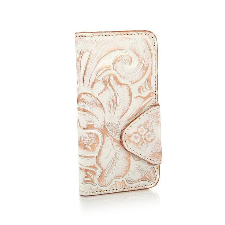 Patricia Nash Italian Leather Vara iPhone 7 Flip Case - White/Copper