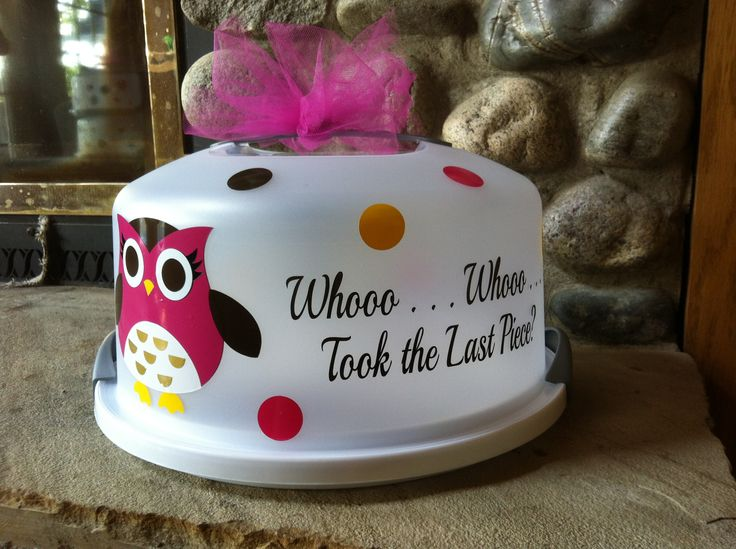 Cake carrier with vinyl designs - pink, chocolate, yellow.  By BDD