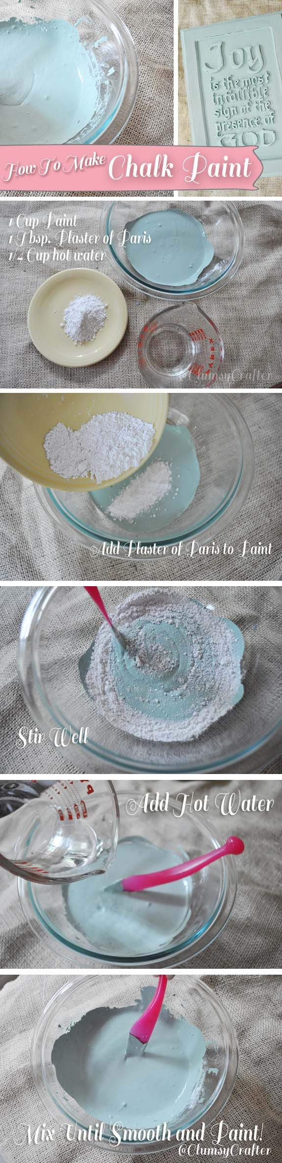 How to Make Chalk Paint :: not the chalkboard type of paint, it's like the Annie Sloan chalk type of paint! cool...tutorial.