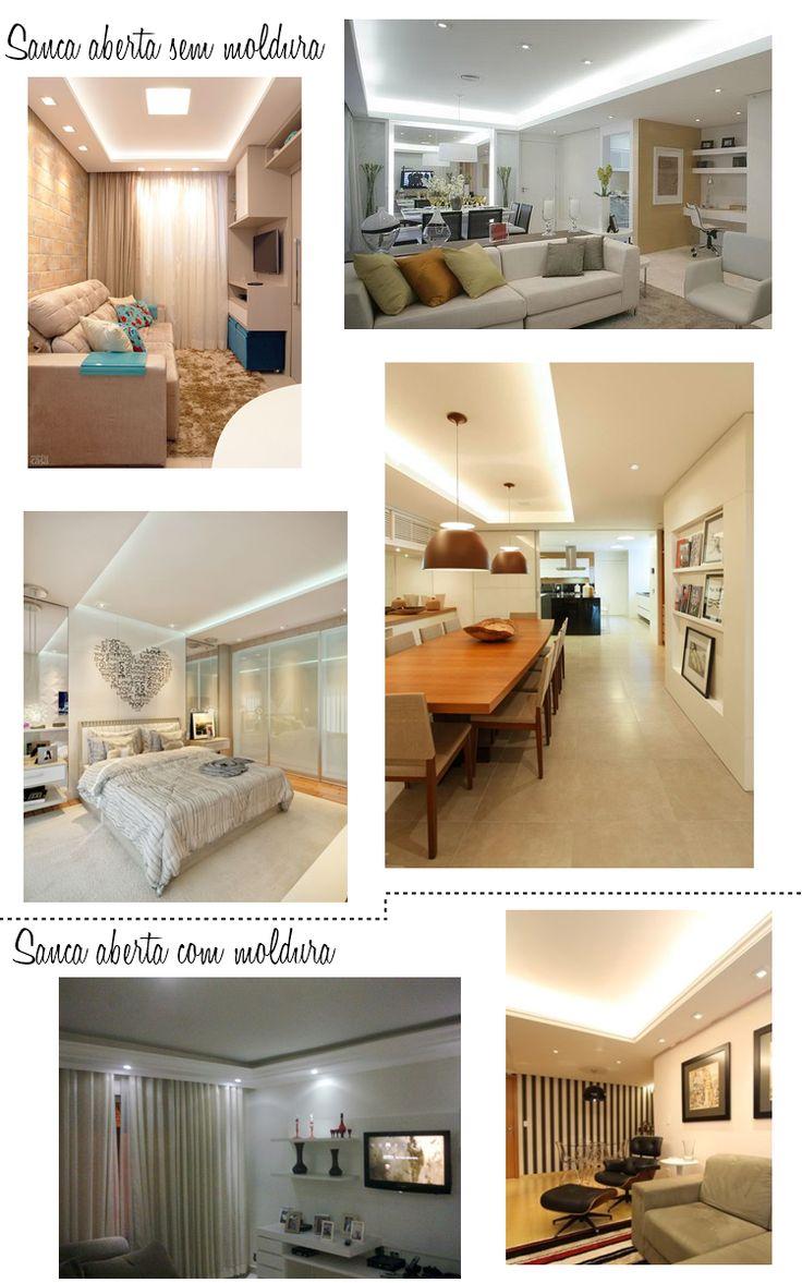 As 14 Melhores Imagens Em Sala No Pinterest Sancas Apartamentos  ~ Sancas De Gesso Quarto Casal E Iluminação Sanca Quarto
