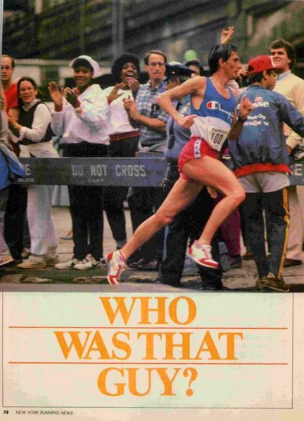 "New York City Marathon 1984, 28 ottobre. Orlando Pizzolato (1958) vince tra la sorpresa generale in 2h14'53"". Il New York Running News intitolò: Who was that guy?"