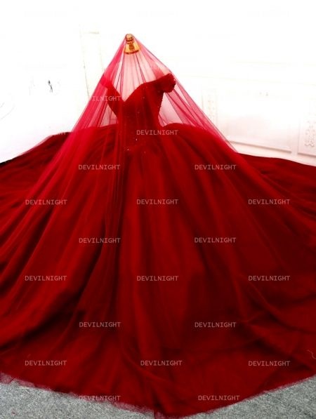 Red Beading Off-the-Shoulder Ball Gown Gothic Wedding Dress - Devilnight.co.uk