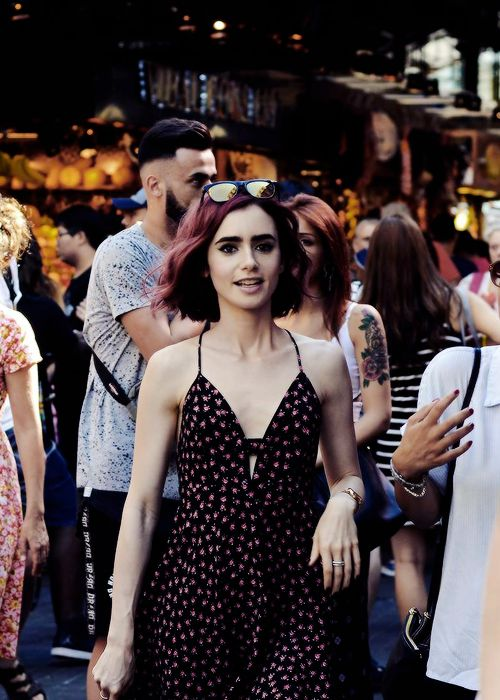 Lily Collins out and about in Barcelona, Spain.