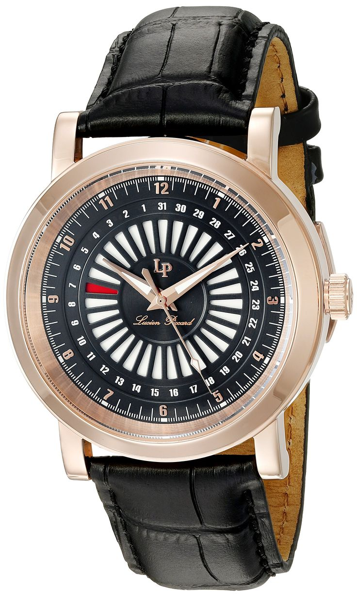 Lucien Piccard Men's 'Ruleta' Quartz Stainless Steel and Leather Casual Watch, Color:Black (Model: LP-40014-RG-01). Date Indicator Around Dial. Black Dial with Rose Gold Tone and White Hands and Rose Gold Tone Arabic Numerals; Sapphitek Crystal; Rose Gold Tone Ion-Plated Stainless Steel Case; Black Leather Strap. Quartz Movement. Case Diameter: 45mm. Water Resistant To 99 Feet.