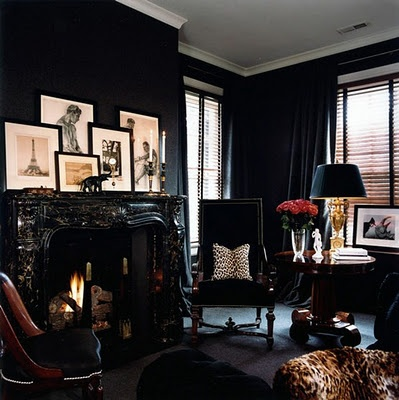 Dark library walls, fireplace, great ambiance - for the gentleman