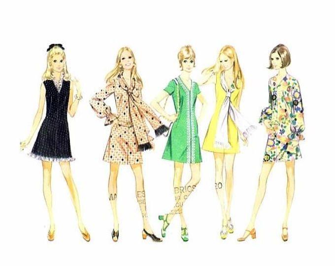 SALE 1970s McCalls 2387 Misses V-Neckline Dress with Scarf Vintage ...