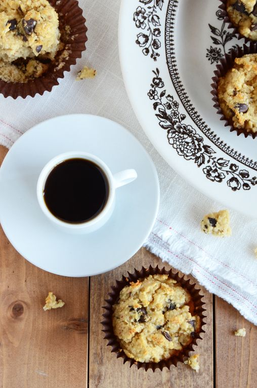 Coconut Chocolate Chunk Muffins - use coconut oil and honey instead of canola oil and stevia.