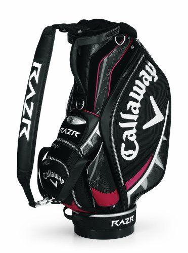 "Callaway Golf RAZR Staff Cart Bag by Callaway. Save 48 Off!. $229.99. Diablo RAZR Staff Bag...Look Sharp, Play Sharp! Callaway RAZR Staff Bag features: 10, 6-way top separates and organizes clubs Comfort single strap with double strap connections Lockable pocket keeps your valuables extra safe Water bottle pockets and large apparel pocket 10 pockets provide plenty of storage space Magnetic ball pocket for easy open/close Redesigned ""Wishbone Power Handle"" Perfect balance base In..."