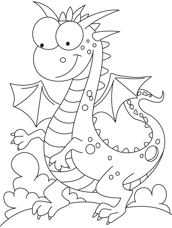 Comparatively a kind looking dragon coloring pages
