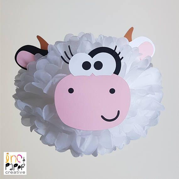 Farm Party Cow Pompom Decoration/Barnyard party/Cow Party/Farm
