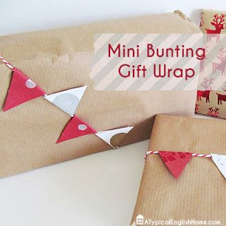 Christmas gift wrapping idea (mini bunting). Includes template for mini pennant flags.