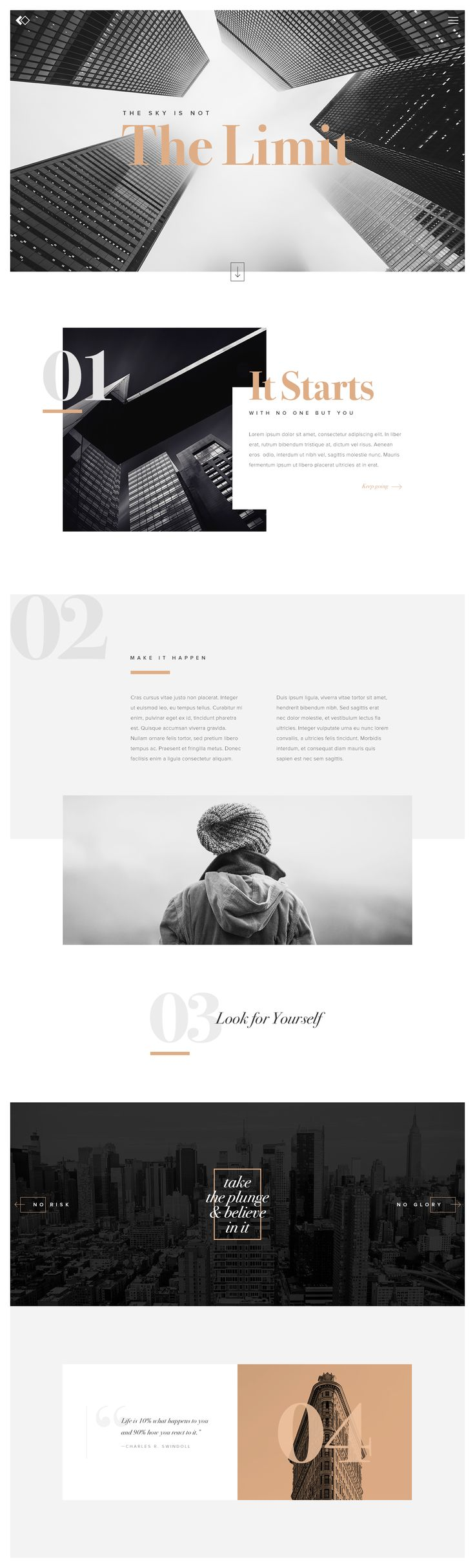 Love how this leads you through the site. Love the big numbers and headers. Love the colors.