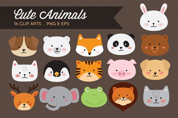 Cute Animals Clipart Vector Png 326446 Illustrations Design Bundles Cute Animal Clipart Animal Clipart Cute Animals