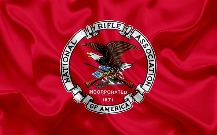 Download wallpapers National Rifle Association, NRA, American nonprofit organization, USA, emblem, red silk, 4k, official logo