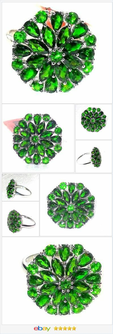 Russian Chrome Diopside Cluster ring 6.00 carats size 7 Sterling USA Seller  #ebay  http://stores.ebay.com/JEWELRY-AND-GIFTS-BY-ALICE-AND-ANN