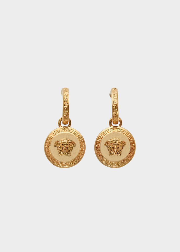 Versace Tribute Medusa Pendant Earrings for Women | UK Online Store. Tribute Medusa Pendant Earrings from Versace Women's Collection. Earrings with Medusa icon pendant and Greek Key details. All Versace Jewelry products are lead and nickel free. All the materials are hypoallergenic.