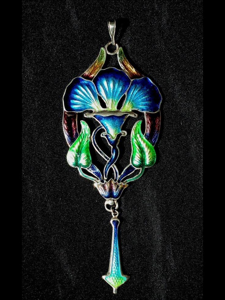 Art nouveau silver and enamel pendant.