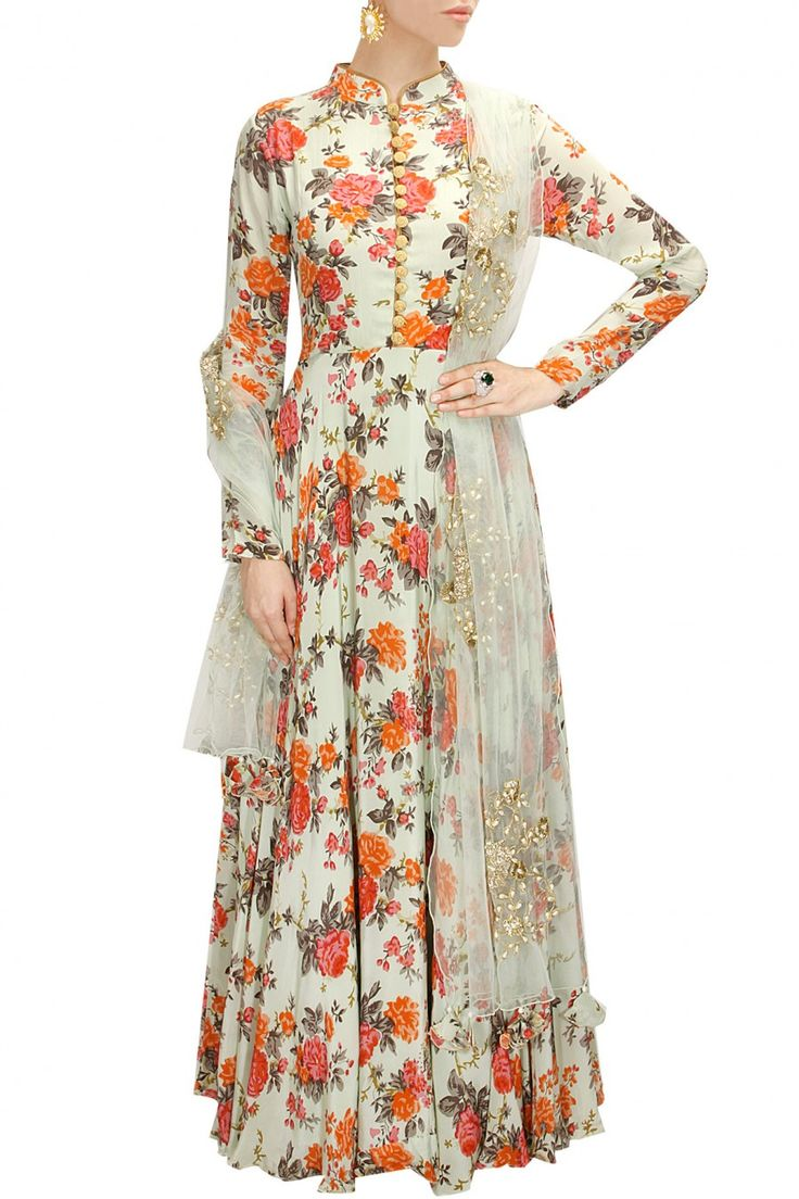 Mint floral print embroidered anarkali set available only in Pernia's Pop-Up Shop.