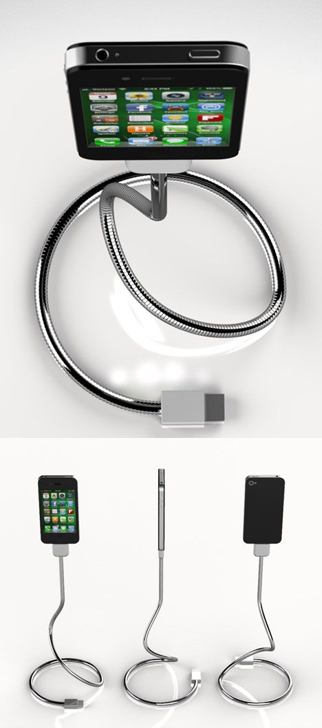 Une Bobine takes the segmented, flexible metal cables of the sort used in industrial light fixtures and adapts it for iPhone charging, allowing the cable itself to serve as a stand.