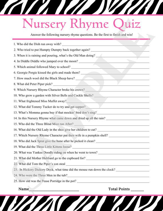 Instant Download   Printable Nursery Rhyme Quiz U0026 Answers Zebra Bridal Baby  Shower Game PDF