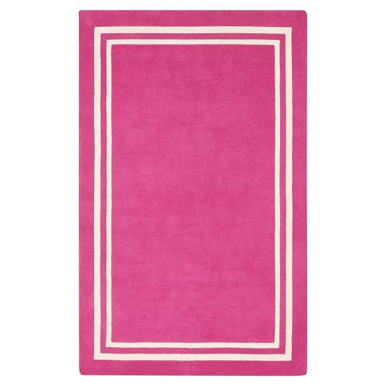 Decorator Border Rug, Pink Magenta, 3x5