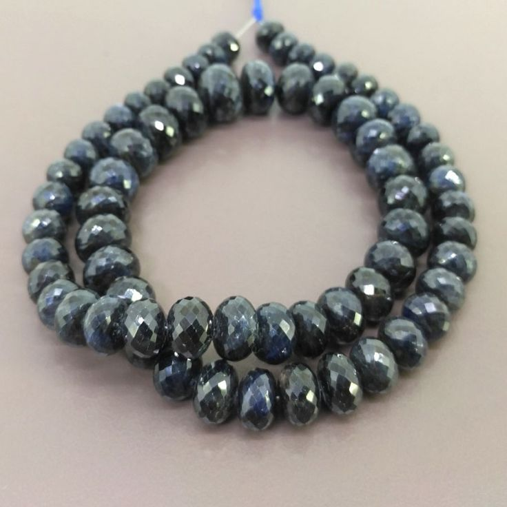 Blue Sapphire 8-13mm Faceted Rondelle Shape Bead Strands