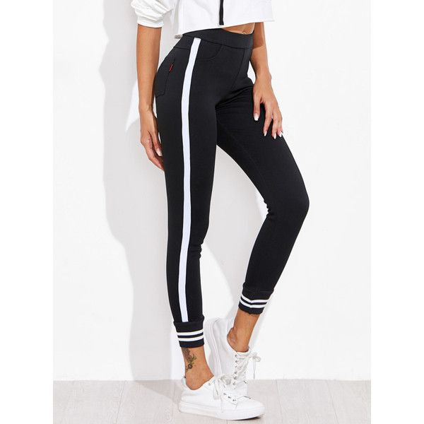 Contrast Striped Sport Leggings Pants ❤ liked on Polyvore featuring pants, sports pants, sports trousers, sport trousers, white pants and white trousers