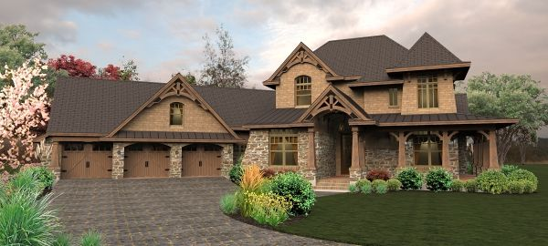 This is a 3,069 Sq. Ft. craftsman beauty. The charming tower graces a wrap around porch with rustic detail. The master suite on the main level features a luxurious master bath and walk-in shower. To see more of what this home HHF-4440 has to offer click here: www.dfdhouseplans.com