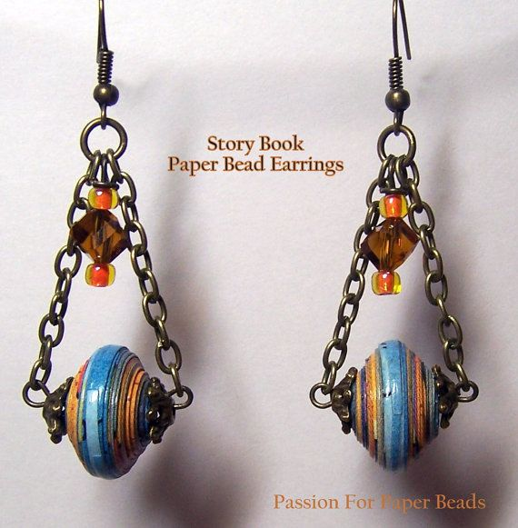 Paper Bead Storybook Earrings by PassionForPaperBeads on Etsy