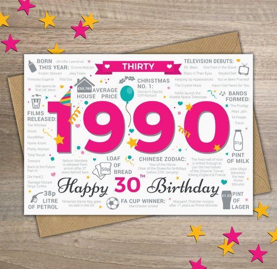Happy 30th Birthday Female Womens Thirty Greetings Card Etsy In 2021 40th Birthday Cards 21st Birthday Cards 50th Birthday Cards