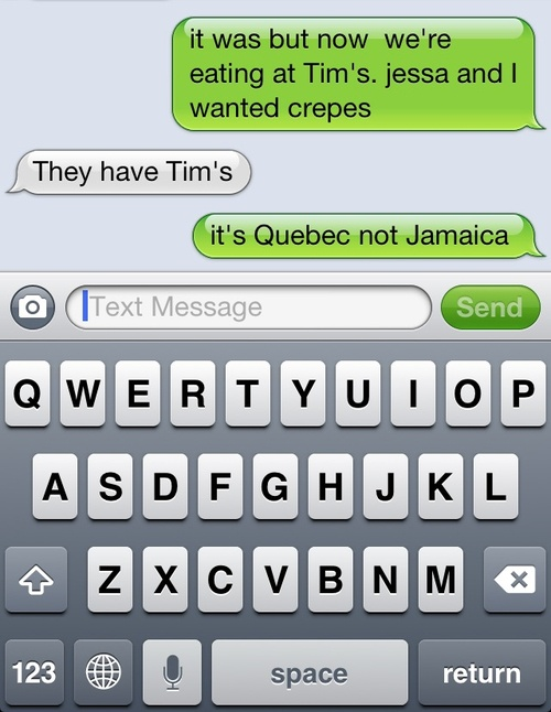 """""""They have Tim's?"""" LOL Tim Horton's"""