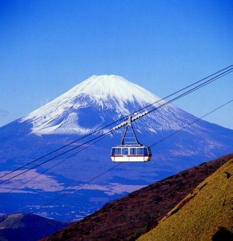 Mt. Fuji and a gondola lift
