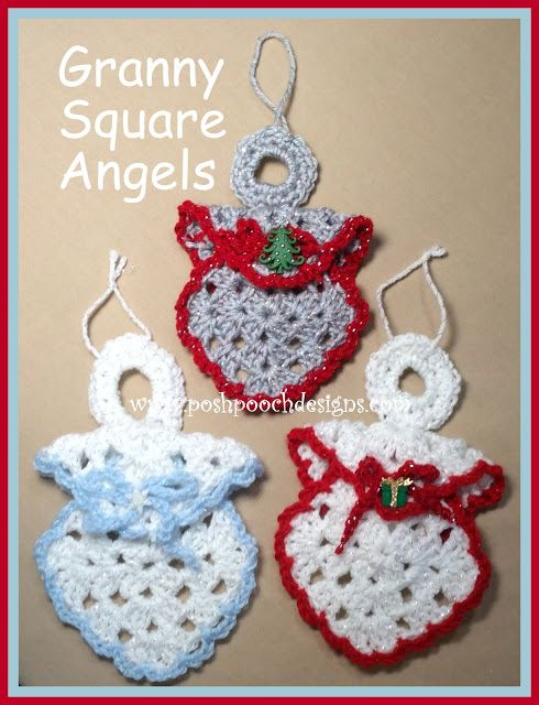 Posh Pooch Designs Dog Clothes: Granny Square Angel Ornament Crochet Pattern | Posh Pooch Designs