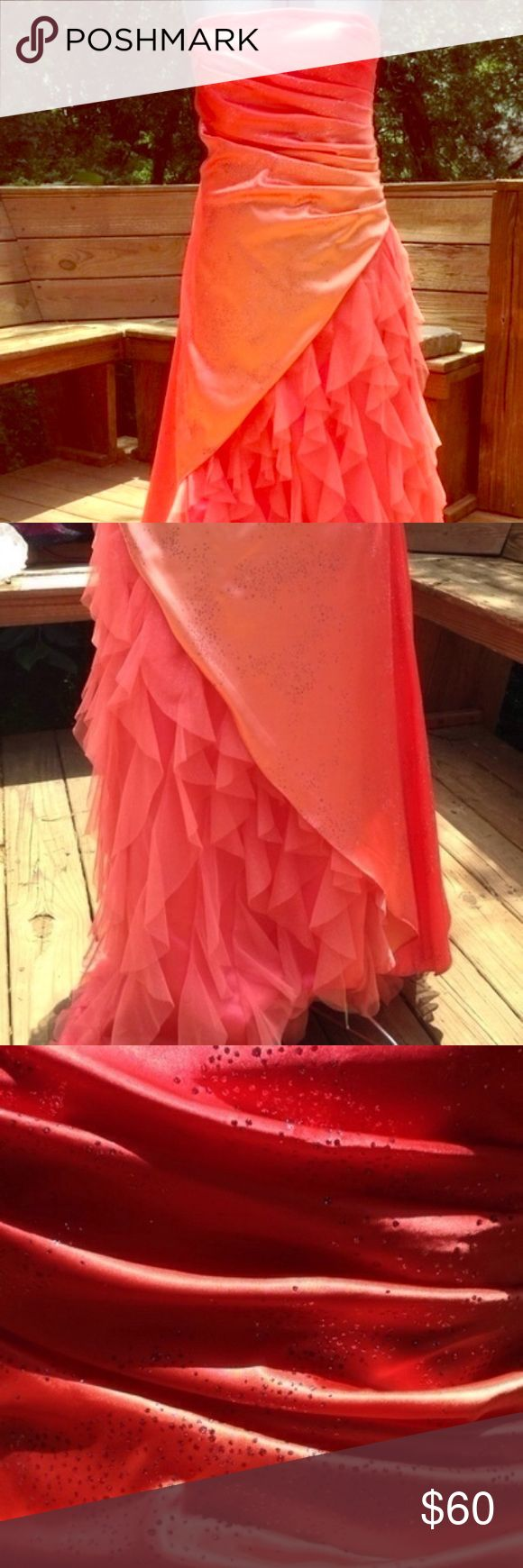 Orange strapless ombré prom dress Sparkly Orange ombré prom dress with ruffled underskirt shown by asymmetrical over skirt. Worn only once with extremely slight damage around zipper, this does not impact the rest of the dress. Strapless but the top stays up really well. Jump Dresses Prom