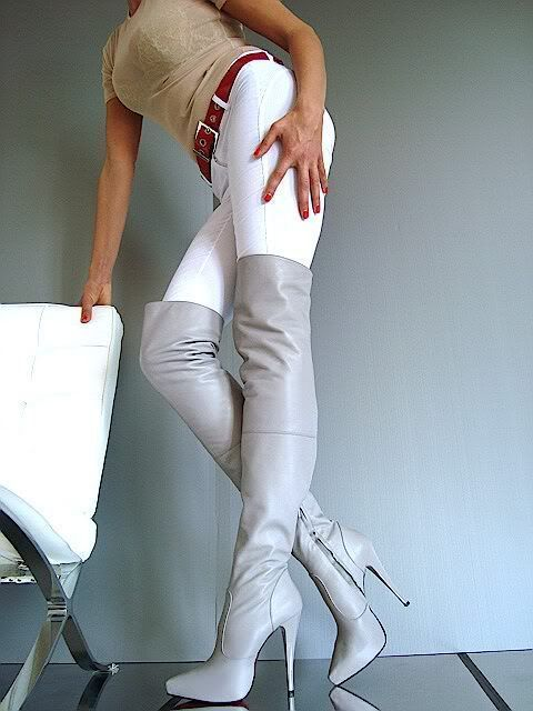 Gray high heel thigh boots white pants