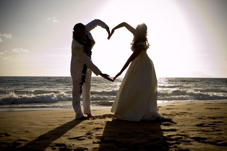 Valentine's Day Wedding...Two hearts become one... Wailea, Maui, Hawaii beach wedding... www.infinityphotohawaii.com