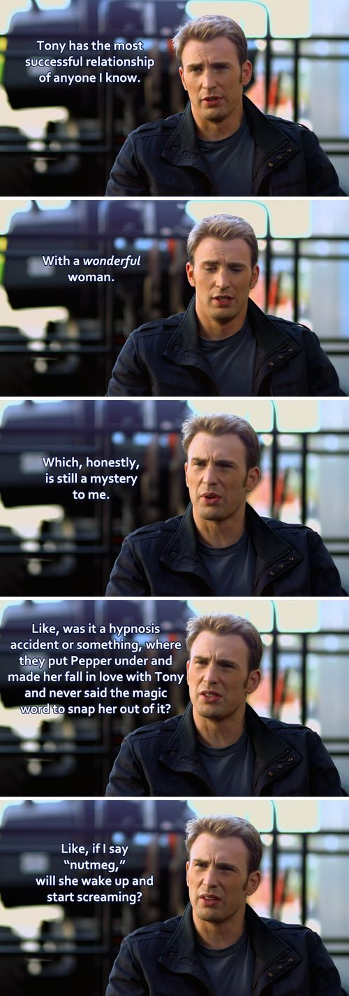 Steve Rogers has some deep thoughts on Tony Stark's and Pepper Pott's relationship...Hahaha!